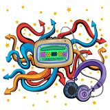 Abstract swirly musical background with Tape Recorder and Headphone music equipment. In vector Stock Photos