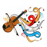 Abstract swirly musical background with Violin music instrument. In vector Royalty Free Stock Images