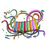 Abstract swirly musical background with Xylophone music instrument. In vector Royalty Free Stock Photography