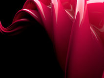 Abstract swirly red shape on black background. 3D Stock Photo