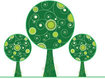 Abstract swirly trees. Abstract stylized green trees on white background Stock Photos
