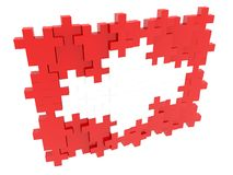 Abstract Swiss flag from the pieces of puzzle. In background royalty free illustration