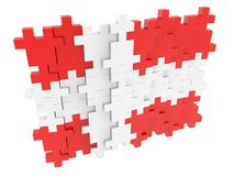 Abstract Swiss flag from the pieces of puzzle on white background. In background royalty free illustration