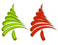 Abstract Swoosh Christmas Trees. A clip art illustration of your choice of 2 abstract swoosh style Christmas trees in red and green Royalty Free Stock Image