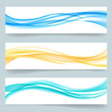 Abstract swoosh smooth wavy line headers or royalty free illustration