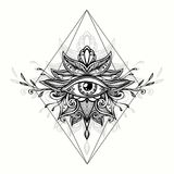 Abstract symbol of All-seeing Eye in Boho style for tattoo black on white. Abstract symbol of All-seeing Eye in Boho Indian Asian Ethnic  style for tattoo black Royalty Free Stock Image