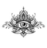 Abstract symbol of All-seeing Eye in Boho style for tattoo black on white. Abstract symbol of All-seeing Eye in Boho Indian Asian Ethno  style for tattoo black Stock Images