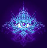 Abstract symbol of All-seeing Eye in Boho style blue lilac on dark. Abstract symbol of All-seeing Eye in Boho Indian Asian Ethno  style blue lilac on dark for Royalty Free Stock Photos