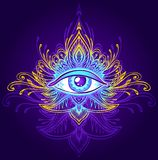 Abstract symbol of All-seeing Eye in Boho style blue lilac gold on dark. Abstract symbol of All-seeing Eye in Boho Indian Asian Ethno  style blue lilac gold on Stock Photos