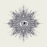 Abstract symbol of All-seeing Eye in Boho style for tattoo black on white. Abstract symbol of All-seeing Eye in Boho Indian Asian Ethno  style for tattoo black Stock Photo