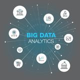 Abstract symbol for big data analytics with stroke icons, spots and grey-teal background. Easy to use for your website or presentation Stock Illustration