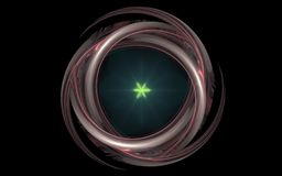 Abstract symbol in the form of decoration with glass shine and green glowing star in the center on a black background.  Royalty Free Stock Photography