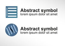 Abstract symbol / logo symbolizing Venetian blind in two variants. Vector abstract symbol or logo symbolizing Venetian blind in two variants Stock Image