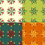 Abstract symbolic seamless patterns with berries Royalty Free Stock Photos