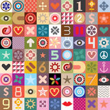 Abstract symbols collage. Vector seamless wallpaper Royalty Free Stock Image