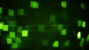 Abstract symbols and green squares blurry lights. Information technology concept Stock Images