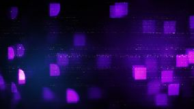 Abstract symbols and purple squares blurry lights. Information technology concept Stock Image