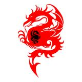 Abstract Symbols, Silhouette of a fighting dragon red, black,. Sharp tail, on white background, vector Stock Photography