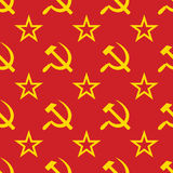 Abstract symbols of USSR background. Seamless. Royalty Free Stock Photo