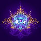 Abstract symbool van alle-Ziet Oog in Boho-stijl blauw lilac goud op dark Stock Foto's