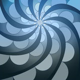 Abstract symmetric blue swirl blossom shape Stock Image