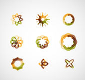 Abstract symmetric business icons. Abstract symmetric geometric shapes, 9 business icon logo set Royalty Free Stock Images