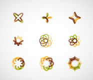 Abstract symmetric business icons. Abstract symmetric geometric shapes, 9 business icon logo set Stock Photos