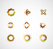 Abstract symmetric business icons. Abstract symmetric geometric shapes, 9 business icon logo set Royalty Free Stock Photography