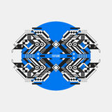 Abstract symmetric design element on blue circle. Futuristic design, useful for prints and posters Stock Images
