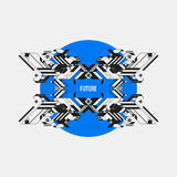 Abstract symmetric design element on blue circle Royalty Free Stock Images