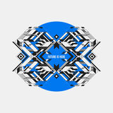 Abstract symmetric design element on blue circle Royalty Free Stock Photos