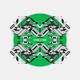 Abstract symmetric design element on green circle Royalty Free Stock Images