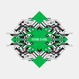 Abstract symmetric design element on green rhombus Royalty Free Stock Images