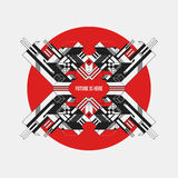 Abstract symmetric design element on red circle. Futuristic design, useful for prints and posters Royalty Free Stock Photos