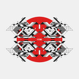 Abstract symmetric design element on red circle. Futuristic design, useful for prints and posters Stock Image