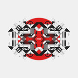 Abstract symmetric design element on red circle Stock Images