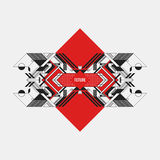 Abstract symmetric design element on red rhombus Royalty Free Stock Photo