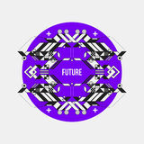 Abstract symmetric design element on violet circle Royalty Free Stock Photos