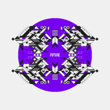 Abstract symmetric design element on violet circle Royalty Free Stock Photo