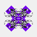 Abstract symmetric design element on violet cross. Futuristic design, useful for prints and posters Royalty Free Stock Photos