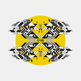 Abstract symmetric design element on yellow circle Royalty Free Stock Photo