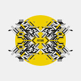 Abstract symmetric design element on yellow circle Royalty Free Stock Photography
