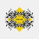 Abstract symmetric design element on yellow rhombus Stock Image