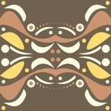 Abstract symmetrical design. With colourful shapes of curves, spots and dots on brown background vector illustration