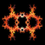 Abstract  symmetrical fractal backgro. Abstract red and orange symmetrical fractal background Stock Photos