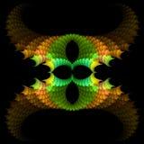 Abstract  symmetrical fractal background. Abstract green and orange  symmetrical fractal background Stock Photos