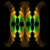 Abstract  symmetrical fractal background. Abstract  green and yellow symmetrical fractal background Stock Images