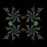 Abstract  symmetrical fractal background. Abstract floral  symmetrical fractal background Stock Photo
