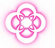 Abstract symmetrical ornamental pattern of pink cross. On white background Stock Photos