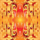 Abstract symmetrical pattern on orange background Royalty Free Stock Photos
